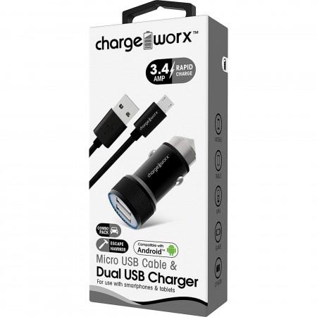 CARGADOR PARA CARRO CHARGE WORX, DUAL USB 3.4A, + CABLE MICRO USB