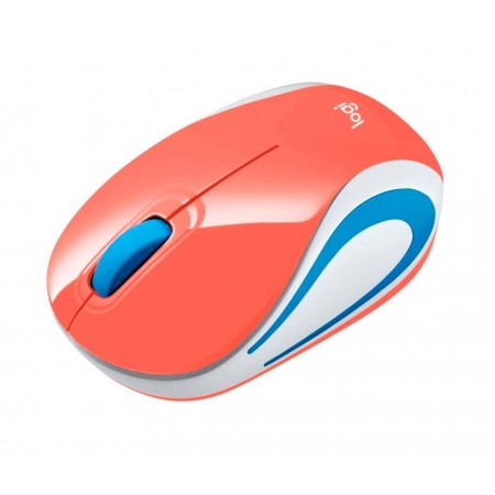 MOUSE LOGITECH M187 INALAMBRICO MINI OPTICO, CORAL, USB NANO RECEIVER - SMART SLEEP (910-005362)
