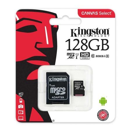 MEMORIA MICROSD 128GB KINGSTON, MICROSD, CLASE 10 UHS-I. INCLUYE ADAPTADOR SD