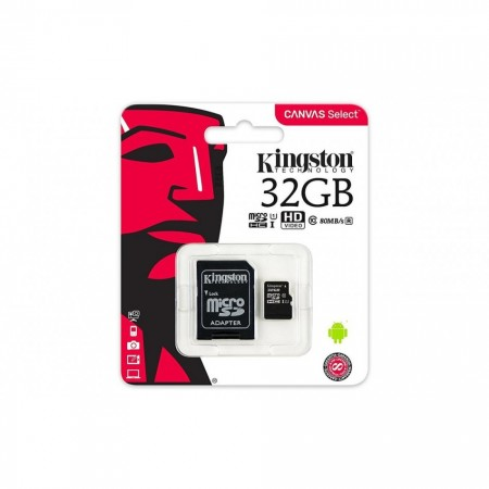 MEMORIA MICROSD 32GB KINGSTON, SDCS, CLASE 10 UHS-I.INCLUYE ADAPTADOR SD