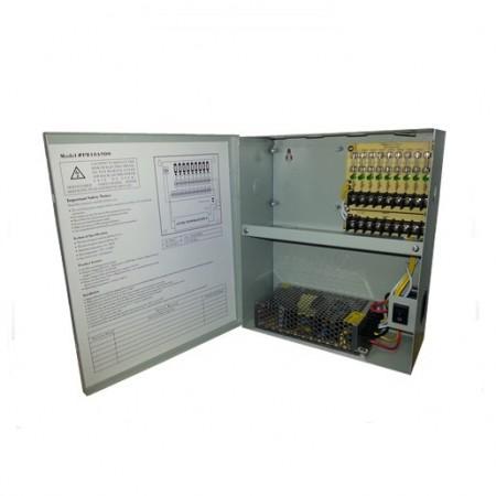 CAJA DE DISTRIBUCION  POWER BOX PARA CAMARA DE SEGURIDAD CLICKCAM 9 CANALES 10 AMP 110-220V (CC-PD9CH10A/12V)