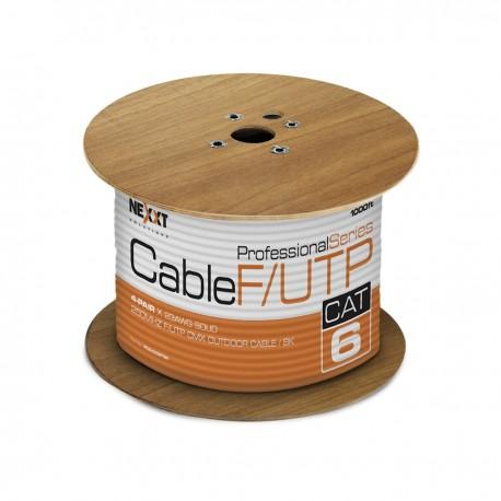 ROLLO DE CABLE F/UTP (FOIL), EXTERIOR, NEXXT, CAT-6, 1000 PIES, NEGRO.
