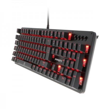 TECLADO PRIMUS GAMING, USB, CON ILUMINACION ROJA (PKS-102S)