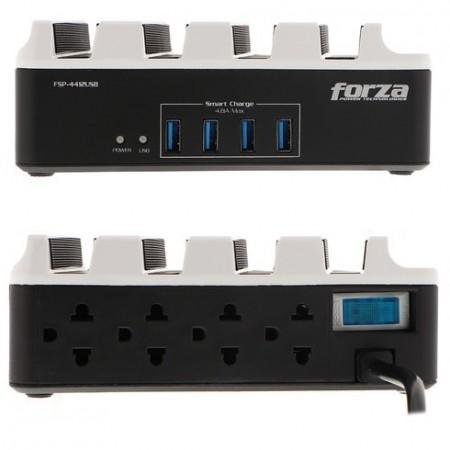 PROTECTOR REGLETA FORZA, 8 OUTLET, 4 PUERTOS USB (4.8A MAX)