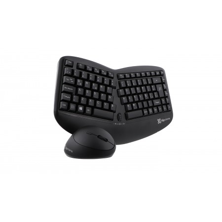 TECLADO MOUSE KLIPX, INALAMBRICO, ERGONOMICO, MULTIMEDIA, BLACK, INGLES