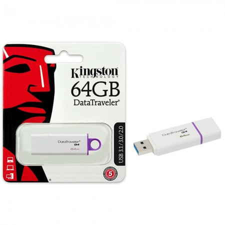 MEMORIA USB 64GB 3.0 KINGSTON, DATATRAVELER G4, BLANCO/MORADO.