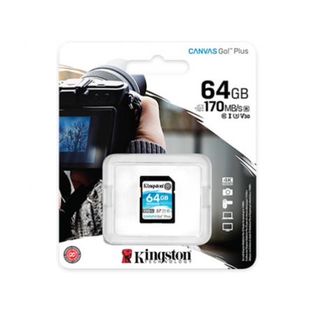 MEMORIA MICROSD 64GB KINGSTON, SDXC, CLASE 10 UHS-1, U3 V30.