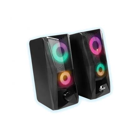 "BOCINA XTECH PORTABLES USB Y 3.5"" PLUG, NEGRO, LED LIGHTS (XTS-130)"