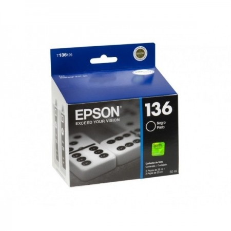 CARTUCHO EPSON 136 NEGRO COMPATIBLE CON IMPRESORA WORKFORCE K101/K301 (2PIEZAS DE 25ML)
